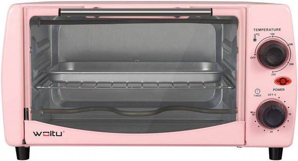 Mini Backofen 12 Liter, 800 Watt Toasterofen mit Timer, rosa