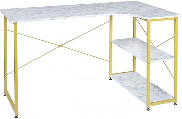 Geräumiger Arbeitstisch mit zwei Ablagen, gold- marmor