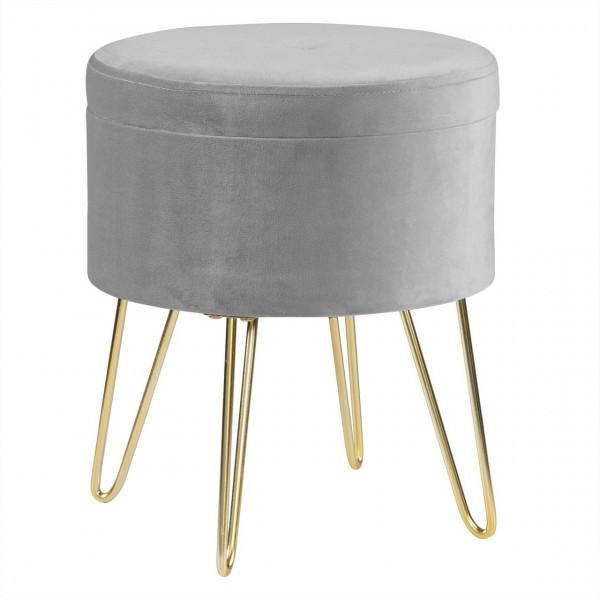 Sitzhocker Polsterhocker aus Samt rund, goldene Metallbeine, hellgrau