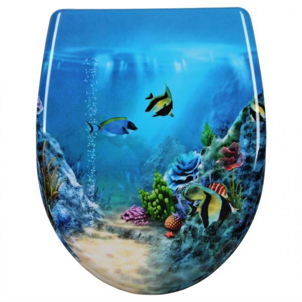 WC-Sitz Duroplast Goldfisch Blau mit Absenkautomatik